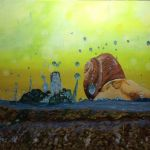 acrylic painting of a snail dancing in the rain by trembelingart
