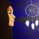 acrylic painting of a girl looking at a dream catcher by trembelingart