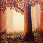 acrylic painting of a tree in a misty forest by trembelingart