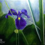 acrylic painting of a blue iris on green background by TrembelingArt