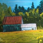 acrylic painting of an old barn in a field by TrembelingArt