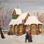 acrylic painting of a vintage scene of people on the way to church in winter by TrembelingArt