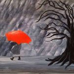 acrylic painting of a girl walking in the rain holding an orange umbrella by TrembelingArt