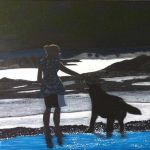 acrylic painting of a girl and a dog playing on the beach by TrembelingArt