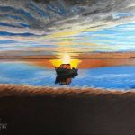 acrylic painting of a boat on a lake at sunset by TrembelingArt