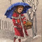 acrylic painting of a girl in vintage dress walking in a snow fall by TrembelingArt