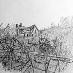 graphite drawing of an old house in a field and an old wagon wheel