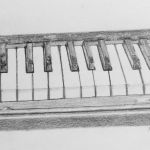 graphite drawing of a piano
